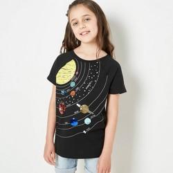 Girls' Short Sleeve Flip Sequin Solar System T-Shirt - Cat & Jack™ Black