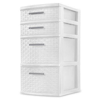 4 drawer weave tower - White