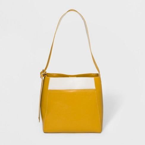 Zip Closure Tote Handbag - Who What Wear™ Yellow - image 1 of 4