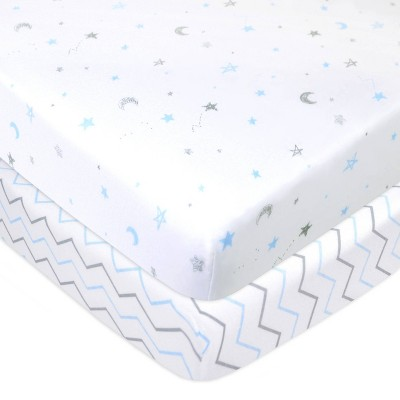 TL Care 100% Fitted Cotton Mini Crib Sheet Star Zigzag Blue - 2 Pack