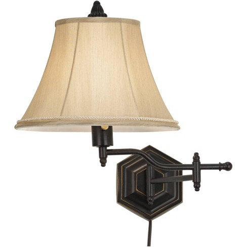 Barnes and Ivy Country Swing Arm Wall Lamp Hexagon Bronze Plug-In Light Fixture Gold Bell Shade for Bedroom Living Room Reading - image 1 of 4