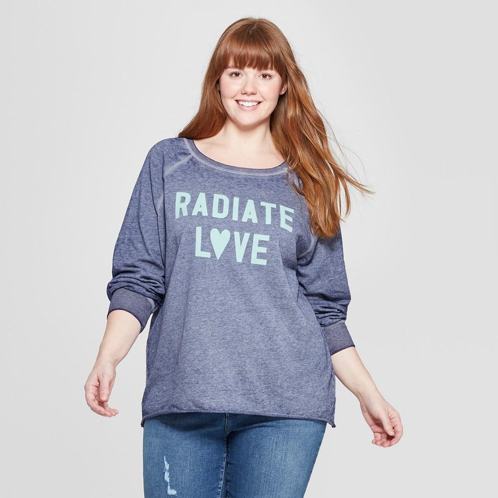 Women's Plus Size Radiate Love Graphic Sweatshirt - Zoe+Liv (Juniors') Blue 2X