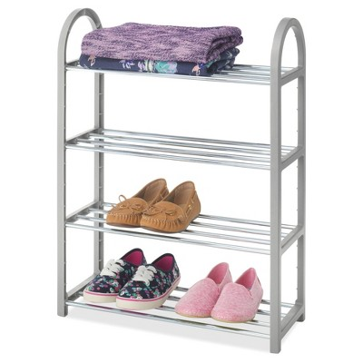 Whitmor 4-Tier Compact Shoe Rack Gray