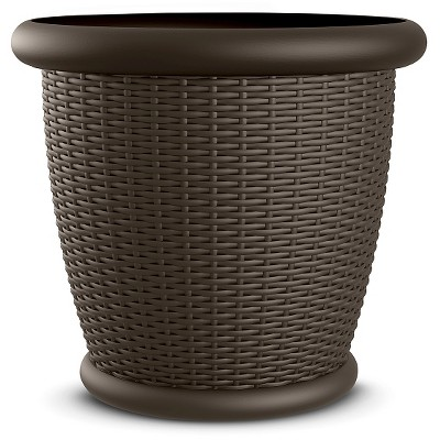 22  Willow Resin Wicker Decorative Planter 2 Pack - Brown - Suncast