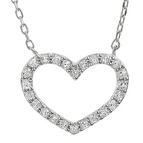 1/4 CT. T.W. Round-cut CZ Pave Set Open Heart Pendant Necklace in Sterling Silver - Silver - image 1 of 2