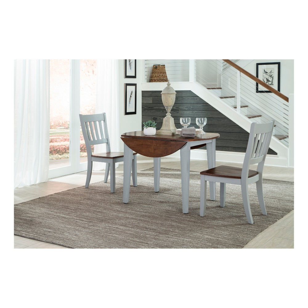 Small Space Living Round Drop Leaf Dining Table Light Gray - Intercon