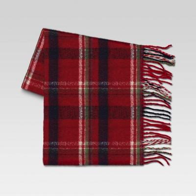 Plaid Faux Mohair Throw Blanket Red - Threshold™