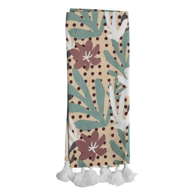 Floral Pattern 27 x 18 Inch Woven Kitchen Tea Towel with Hand Sewn Tassels - Foreside Home & Garden
