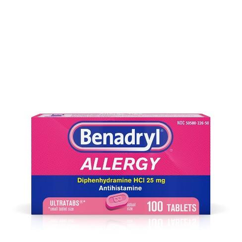 Benadryl Ultratab Allergy Relief Tablets - Diphenhydramine - 100ct - image 1 of 4