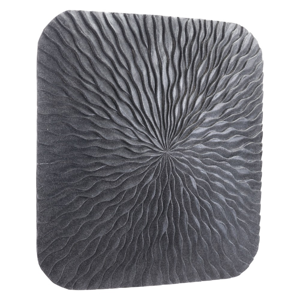 ZM Home 24 Textured Square Wall Sculpture Dark Gray