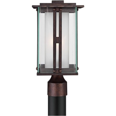 """Franklin Iron Works Modern Post Light Fixture Bronze 15 3/4"""" Clear and Frosted Double Glass Lantern for Garden Yard Driveway"""