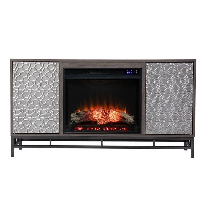 Dernal Electric Touch Panel Fireplace with Media Storage Gray - Aiden Lane