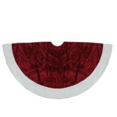 "Northlight 48"" White and Burgundy Plush Christmas Tree Skirt"