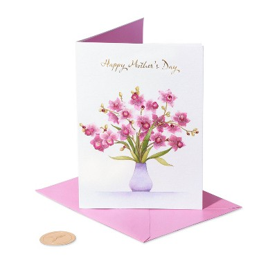 Mothers Day Greeting Card Vase of Orchids - PAPYRUS