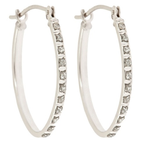 Oval Sterling Silver Earrings with Diamond Accents - White - image 1 of 1
