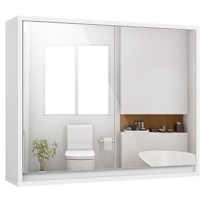 Costway Wall Mounted Bathroom Storage Cabinet Organizer Shelf W/Double Mirror Door White
