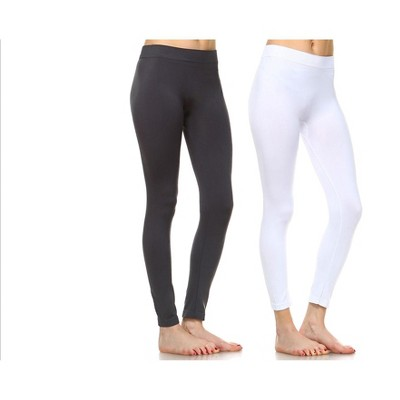Women's Pack of 2 Solid Leggings - One Size Fits Most - White Mark