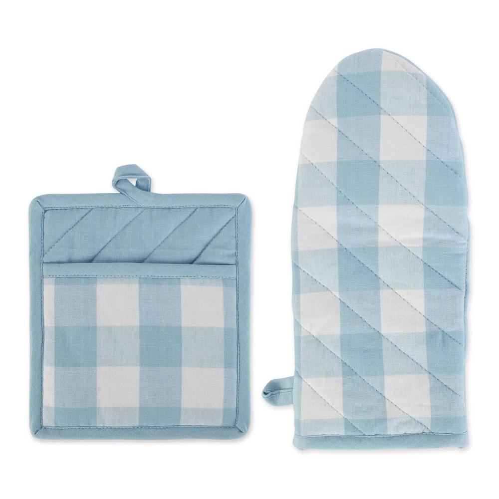 Image of 2pc Cotton Buffalo Check Oven Mitt and Pot Holder Set Blue - Design Imports