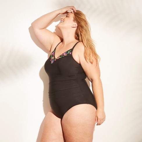 Women's Plus Size Embroidery One Piece Swimsuit - Aqua Green® Black - image 1 of 2