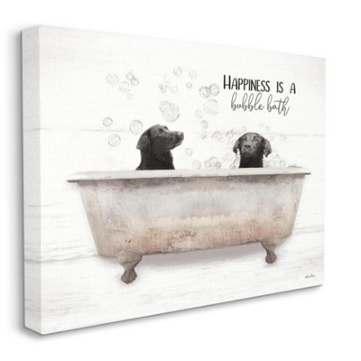 Stupell Industries Animal Bathroom Happiness is a Bubble Bath Dog Quote