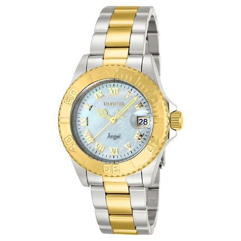Women's Invicta 14364 Angel Quartz 3 Hand White Dial Link Watch - White - image 1 of 1