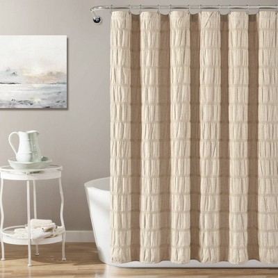 Waffle Striped Woven Cotton Shower Curtain - Lush Décor