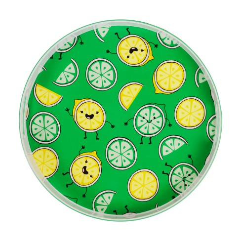 "Round Melamine Serving Tray 15"" Lemons and Limes - Green - image 1 of 2"