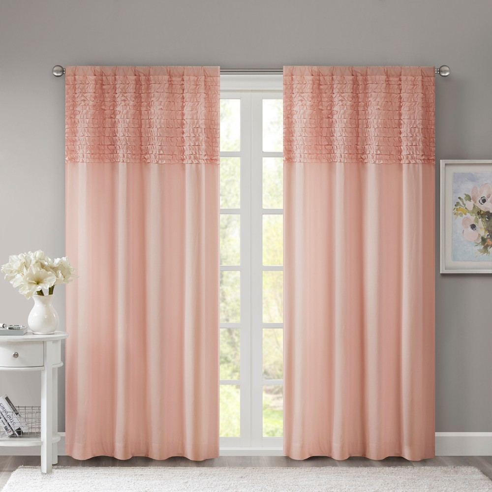 Laurie Cotton Horizontal Ruffle Curtain Panel Pink (50x84)