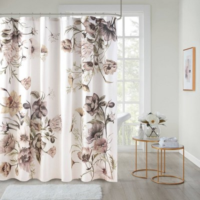 Maddy Printed Cotton Shower Curtain Blush
