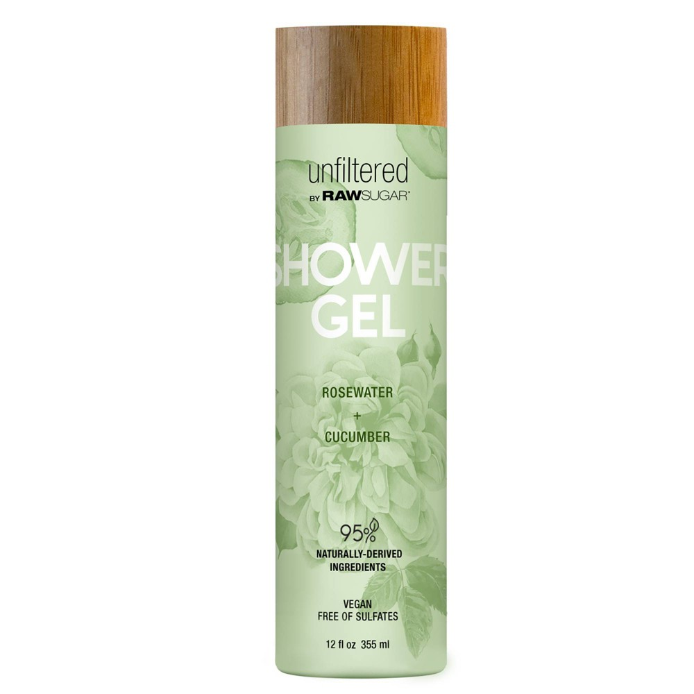 Unfiltered By Raw Sugar Rosewater and Cucumber Shower Gel 12 fl oz