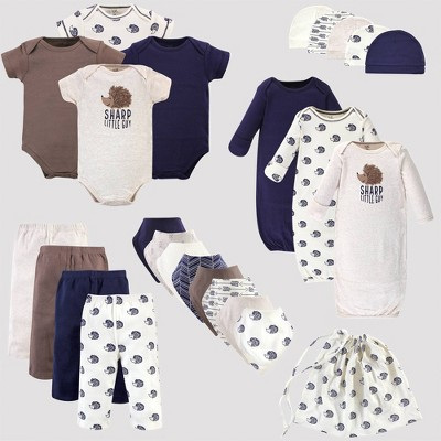 Touched by Nature Baby 25pc Organic Cotton Gift Cube Bodysuit - Hedgehog - Brown/Blue 0-6M