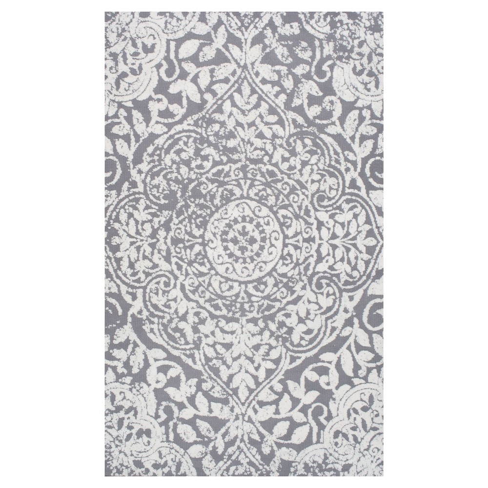 Sterling Gray Solid Loomed Area Rug - (4'x6') - nuLOOM, Gray Blue