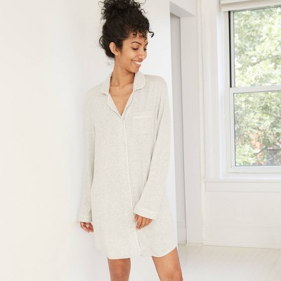 Women's Perfectly Cozy Long Sleeve Notch Collar Nightgown - Stars Above™ Gray S
