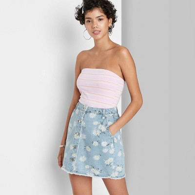 Women's Floral Print High-Rise Button-Front Denim Mini Skirt - Wild Fable™ Medium Blue