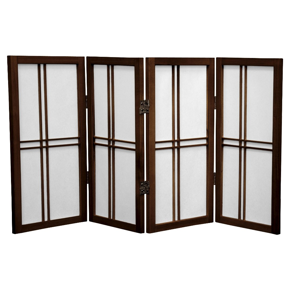 Image of 2 ft. Tall Desktop Double Cross Shoji Screen - Walnut (4 Panels) - Oriental Furniture, Brown