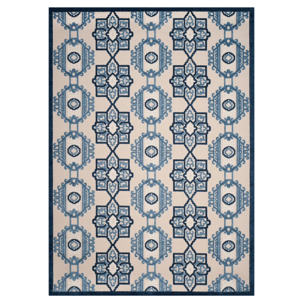 Ivory/Blue Abstract Loomed Area Rug - (6'7