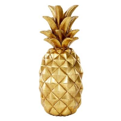"14"" Decorative Polystone Pineapple Figurine Gold - Olivia & May"