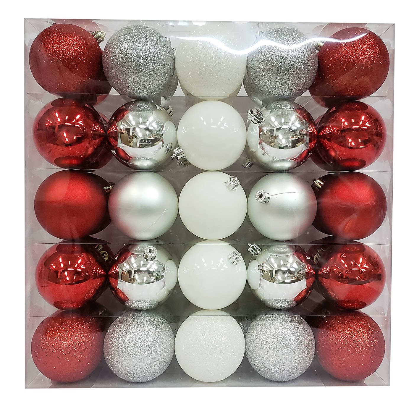 50ct Ornament Set 70mm Red/White/Silver - Wondershop™ - image 1 of 1