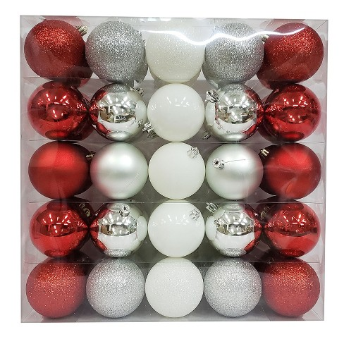 about this item - Red And Silver Christmas Ornaments