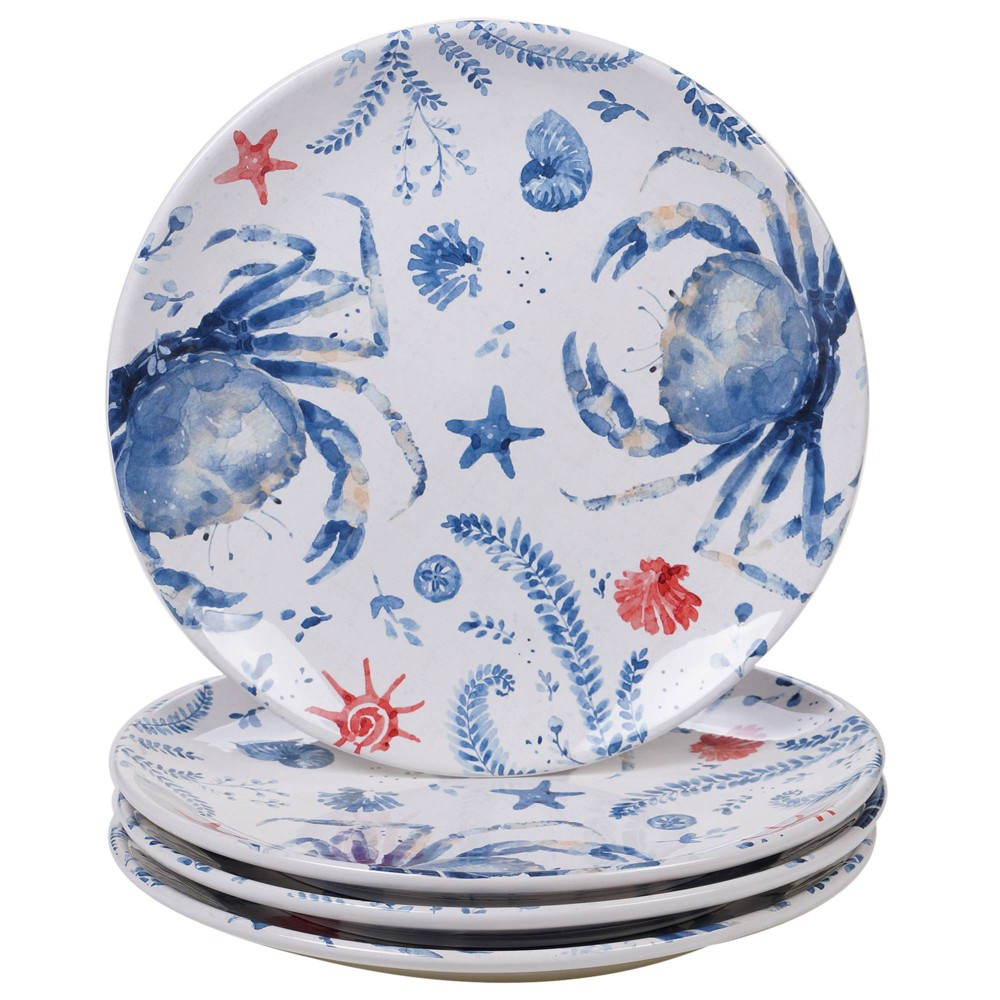 "Image of ""10.8"""" 4pk Earthenware Nautical Life Crab Dinner Plates Blue - Certified International, White Blue"""
