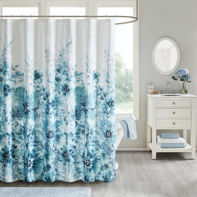Slade Floral Cotton Shower Curtain Teal Shower Curtain Teal