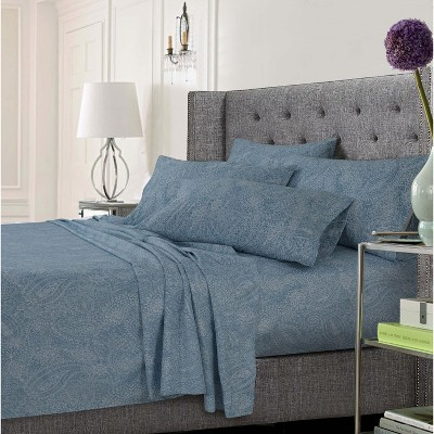 Tribeca Living Microfiber Extra Deep Pocket Sheet Set King - Paisley Blue