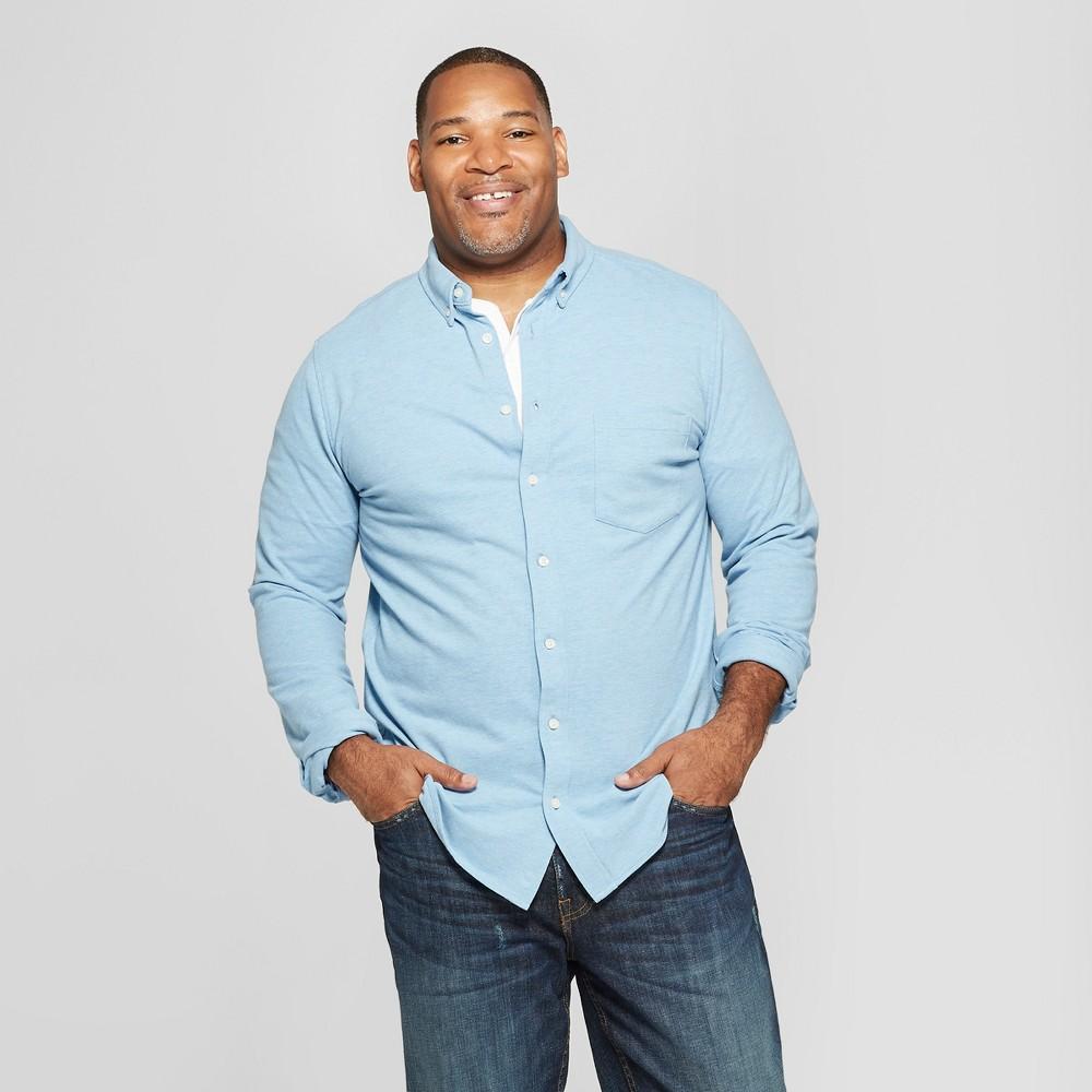 Men's Tall Long Sleeve Knit Button-Down Shirt - Goodfellow & Co Cyber Blue LT