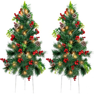 Best Choice Products Set of 2 24.5in Pre-Lit Pathway Christmas Trees Decor w/ LED Lights, Berries, Pine Cones, Ornaments