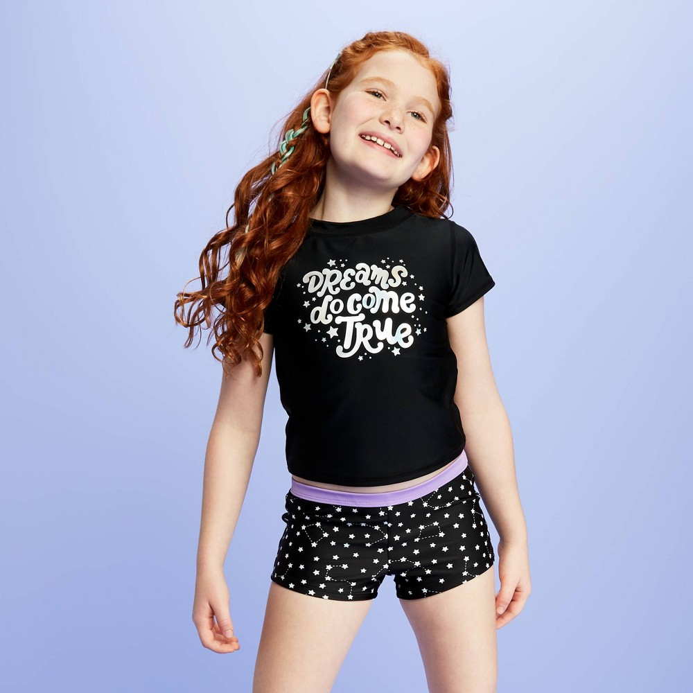 Image of Girls' Stargazing BoyShort swim Shorts - More Than Magic Black M Plus, Girl's, Size: Medium Plus