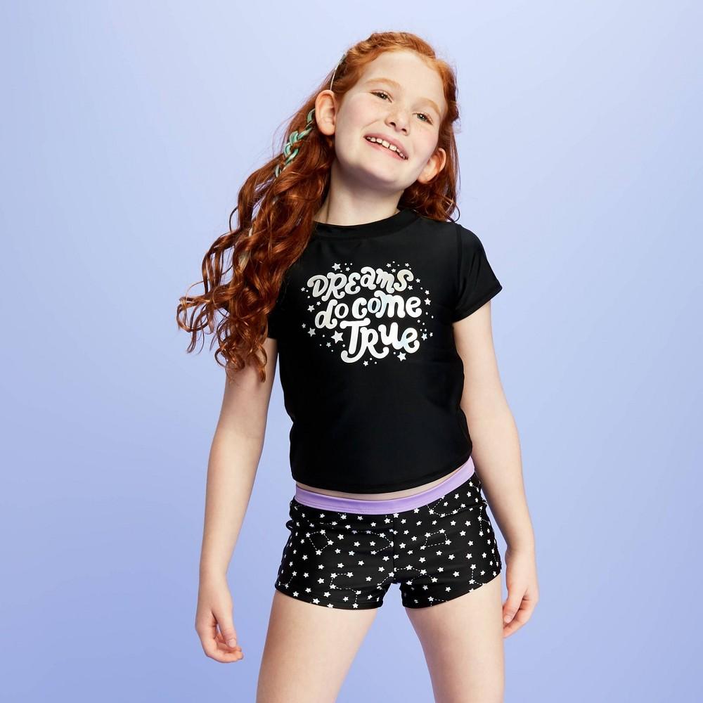 Image of Girls' Stargazing BoyShort swim Shorts - More Than Magic Black L Plus, Girl's, Size: Large Plus