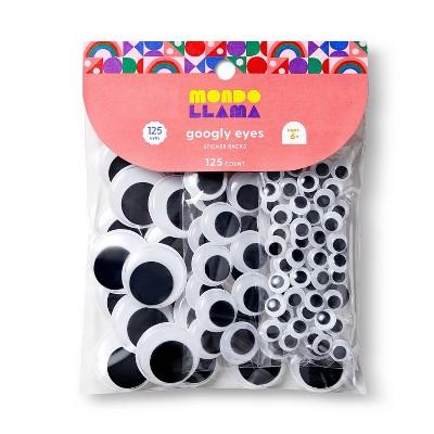 125ct Googly Eyes with Sticker Back Black - Mondo Llama™