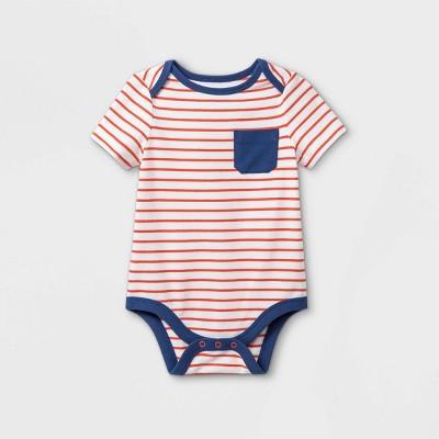 Baby Boys' Pocket Short Sleeve Bodysuit - Cat & Jack™ Bright Orange 3-6M