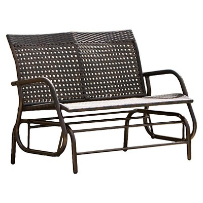 Charmant Maui Swinging Wicker Patio Bench   Brown   Christopher Knight Home