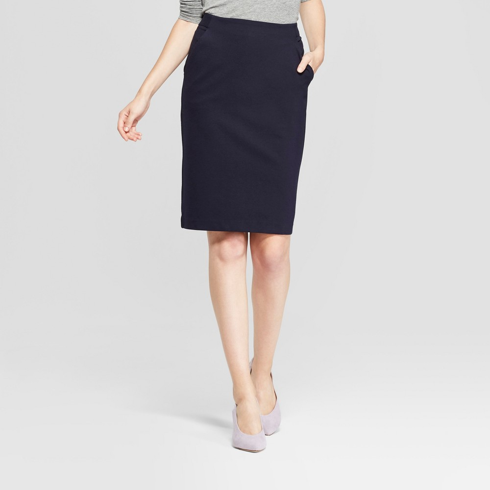 Women's Ponte Pencil Skirt - A New Day Blue 18